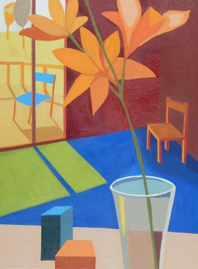Rodgers P Room with Orange Lillies sml px Oil 18 x 24